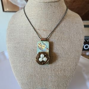 Hand Crafted Domino Bird Nest Necklace
